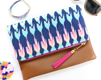 Boho Tassel Clutch in Navy and Pink Tribal Print and Tan Vegan Leather and Gold zipper close