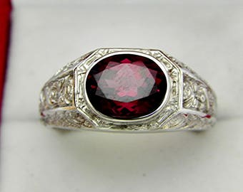 AAA  Red Purple Rhodolite Garnet 10x8mm 3.765 Carats Heavy 14K White gold Antique  Vintage styled MAN'S ring 15 grams. 1559(2)