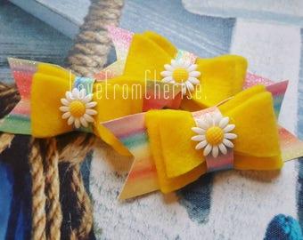 Pretty yellow rainbow sunny sunshine sunflower kawaii hair bow accessory Felt faux leather hair clip for ladies women children adults babies