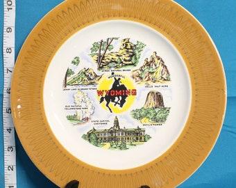 Vintage Wonderful Wyoming Souvenir Plate