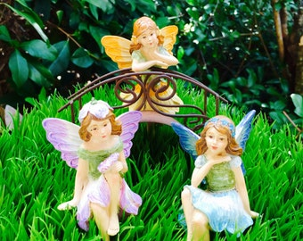 Miniature Garden Fairy or Fairy and Bridge Set ~ Fairy Garden Miniatures ~ Antiqued Metal ~ Miniature Fairy ~ Garden Fairies ~ 3 Colors