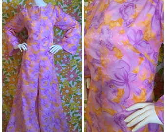SALE! 60s 70s Vintage Pink Psychedelic Floral Wide Leg Jumpsuit Small Medium