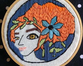 Adrienne, Hand Sewn, Modern Embroidery, 5 inch hoop