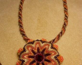 Swarovski Crystal Rivoli Flower Pendant Necklace w/ Gold Plated Clasp