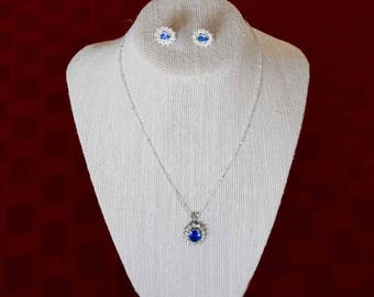 Blue Sapphire with Bright Rhinestones Pendant Necklace and Earrings Demi-Parure Set -   GuysandDollsFashion