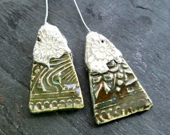 Ceramic Earrings Charms Pair with Decorative Tinwork - You Choose Metal Color -#M-30