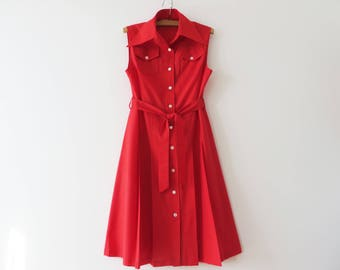 Vintage 70s Summer Dress Button up Dress Hot Red Cotton Dress Sleeve Less Belted Dress with Pockets Made in Denmark Medium to Large