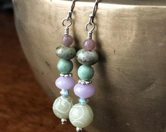 Jade, aventurine, jasper, labradorite, Swarovski crystal, and sterling silver handmade dangle/drop earrings