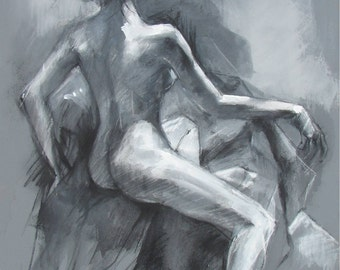 Nude Female Model in Grey - Open Edition Print -