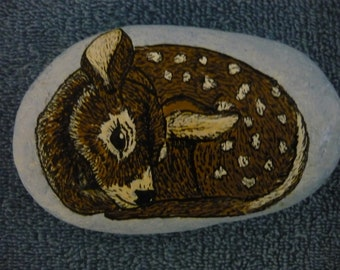Baby Fawn Hand Painted On Rock, Paperweight, Knick Knack