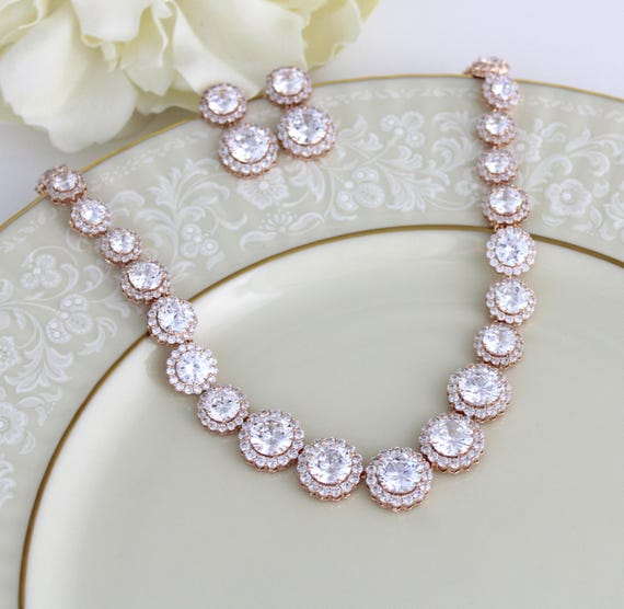 Rose gold necklace set Bridal jewelry set Bridal necklace