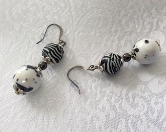 Pretty glazed Ceramic, hematite, and polymer clay dangle drop earrings on gunmetal earwires