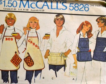 Vintage Sewing Pattern McCall's 5826 Men and Women's  Aprons All Sizes  Complete