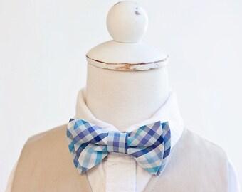 Bow Tie, Bow Ties, Bowties, Boys Bow Ties, Baby Bow Ties, Bowties, Ring Bearer, Bow ties For Boys - Navy, Aqua, Purple Organic Madras Plaid
