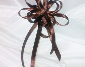 Brooch or hair jewelry • • • wedding • brown color satin ribbon flower/star shaped, bridesmaid, party, gift idea