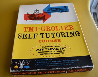 Vintage 1961 TMI-Grolier Self-Tutoring Course Elementary Arithmetic Multiplication and Division Facts Teaching Materials Homeschool Box