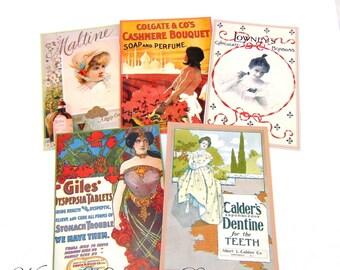 "PDF Dollhouse Advertisment Posters Kit, 1:12 Kit Shop Signs Digital Download, Dollhouse Adverts, Dollhouse Victorian, Scale 1"" Miniatures"