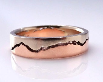 Mixed Gold Mountain Ring, 6mm band, Handmade with recycled Rose Gold & Palladium White Gold, Wedding Band, Mountain wedding, Mountain Love