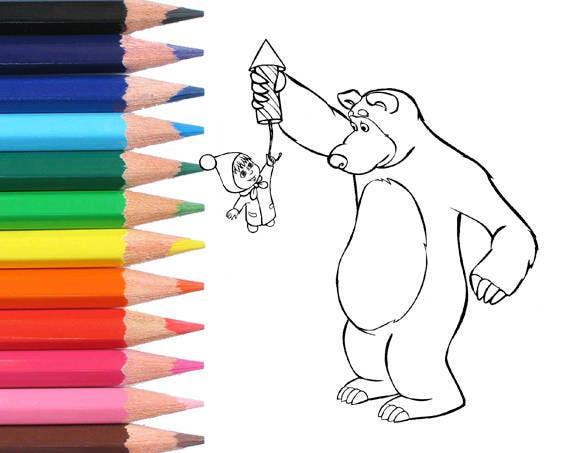Mascha und der Bär Färbung Seiten-Färbung Seite druckbare-Kids
