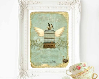 Vintage bird cage, French art print, vintage home decor in green, cream and gold, A4 giclee