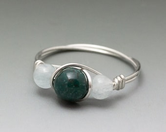 Bloodstone & Aquamarine Sterling Silver Wire Wrapped Bead Ring - Made to Order, Ships Fast!