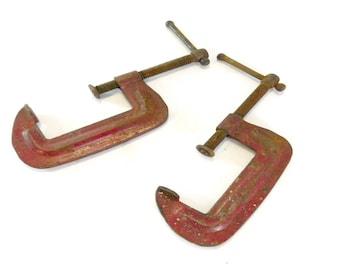 Pair of Vintage C Clamps, Original Red Paint, Vintage Tools, Woodworking, Garage, Industrial, Steampunk