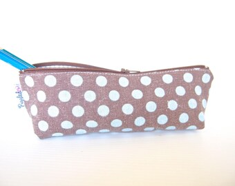 30% Off Sale - Zippered Pencil Case / Pouch - Blue and Brown Polka Dots