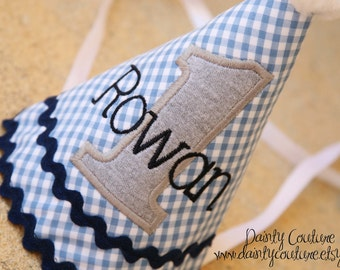 Boys Birthday Hat - Blue, grey, navy - Blue gingham with navy, grey, and white accents - Free personalization - First birthday