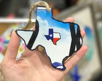 Texas metal license plate handmade ornament keychain rustic state pride souvenir bauble