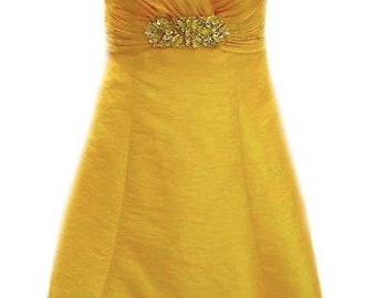 Vintage Yellow Cocktail Dress with Criss-Cross Bodice and Rhinestone Beaded Center Piece 1980's - Fits Size Small (US Sz 6)