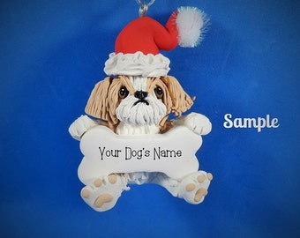 Tan and White Shih Tzu Santa Dog with Bone Christmas Holidays Ornament Sally's Bits of Clay PERSONALIZED FREE with your dog's name