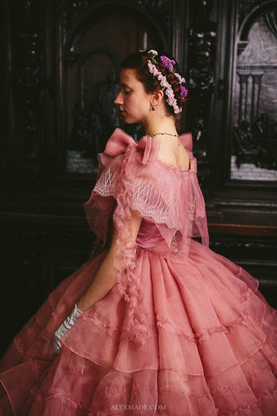 Bürgerkrieg Rose Kleid 1860er Jahre Ballkleid
