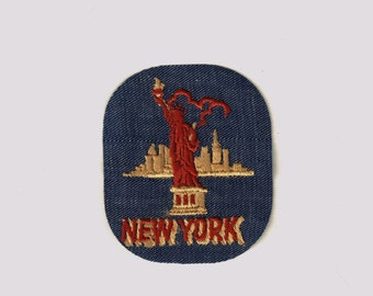 New York Lady Liberty City Vintage 1970's Sewing Patch Applique iron Nostalgic