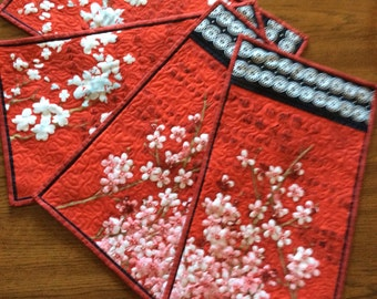 Cherry Blossoms Place Mats, Red place mats, Cherry Blossoms, Quilted place mats, set of 4