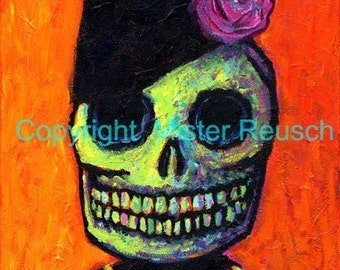Skeleton Funeral Woman in Mourning Signed Art Print by Mister Reusch