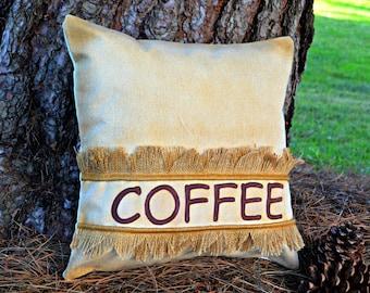 """Rustic Pillows ~ Canvas Burlap pillow ~ Patio pillows 18x18 """"COFFEE"""" ~ Canvas pillow  ~ Farmhouse Pillow ~ cabin pillow ~ Ready to ship"""