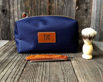 Canvas Dopp Kits - Mens Toiletry Bag - Groomsmen Gift - Leather Dopp Kit - Navy / Tan