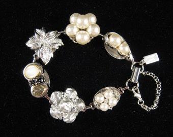 Bridesmaid Gift, Vintage Earring Bracelet, Upcycled, Leaf, Pearl, Rhinestone, Silver, Charm, Jennifer Jones, Cluster, OOAK - Moonglow