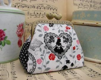 Coin purse clutch with Alice in Wonderland, vintage kiss lock purse