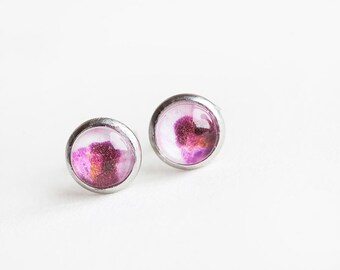 Orchid Pink Studs, Pink, Pink Studs, Orchid Studs, Orchid Jewelry, Orchid Earrings, Pink Earrings, Flower Earrings, bees and buttercups