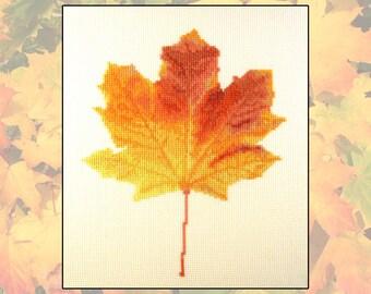 Cross stitch kit Vibrant Fall, Autumn, leaves, maple, orange