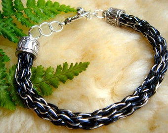 Ravens Wing Viking Knit bracelet Silver plated wire Made in Scotland