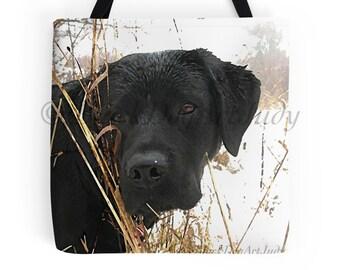 Black Lab 1LSH Tote Bag -  Labrador Tote - Black Lab Gifts - Dog Tote Bag - Grocery Bag - Grocery Tote Bag - Beach Bag - Black Lab Art