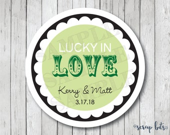 Lucky in Love Personalized Stickers, Wedding Stickers, Wedding Favor Tags, Lucky in Love Tags