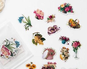 Pretty Flower Sticker Flakes, Scrapbooking, Planner, Decoration Stickers