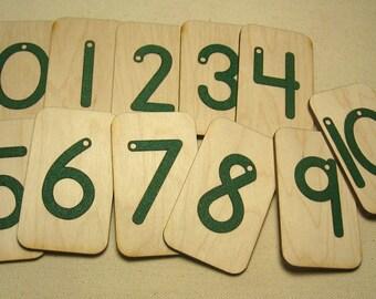 Mini Sandpaper Numbers 0-10 on brich wood