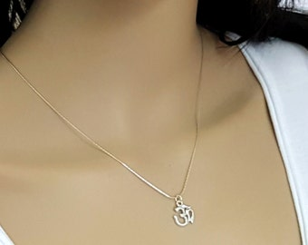 Sterling silver Om necklace or choker, Spiritual necklace, Ohm necklace, Yoga jewelry