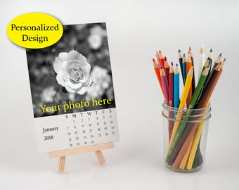 2018 personalized desk calendar with easel, customize loose leaf calendar, make your own calendar, photo print gift, 4x6 or 5x7 inch