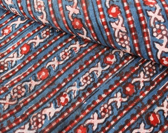 1 yard of Block Print Fabric, Indian Cotton Fabric, Vegetable Dyed Fabric, Blue Striped Fabric, Natural Dyed Fabric