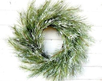 Christmas Wreath-Winter Wreath-SNOWY PINE Wreath-Winter Door Wreath-Holiday Door Wreath-Primitive Christmas Wreath-Holiday Home Decor-Gifts